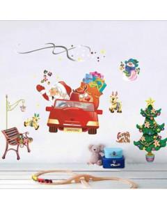 Stenske Nalepke za Otroke - Božiček in Jelenčki - XY-8060 - 50x70cm
